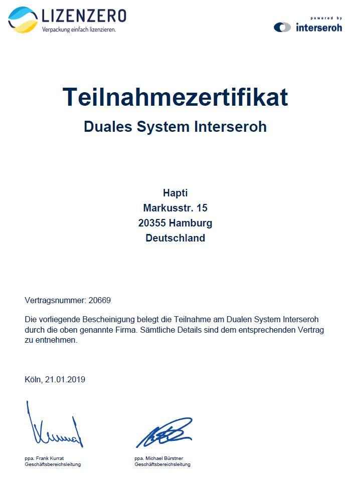 Duales System Zertifikat Hapti